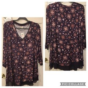NWT Style &Co purple floral V neck, tunic length